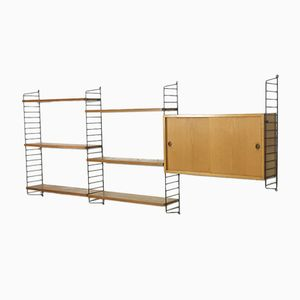 Swedish Ash & Black Ladder Wall Unit by Nisse Strinning for String, 1960s