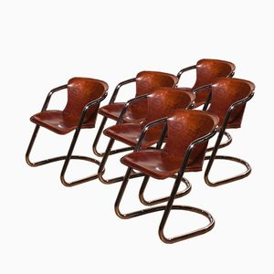Italian Dining Chairs by Willy Rizzo for Cidue, 1970s, Set of 6