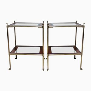 Vintage Occasional Side Tables in Kingwood and Brass, Set of 2