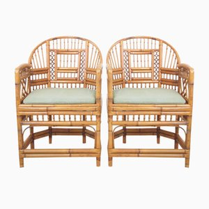 Vintage Handmade Rattan Brighton Palace Chairs, Set of 2