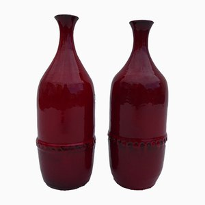 Mid-Century Belgian Eeklo Red Glazed Vases by Leon Goossens, 1960s, Set of 2
