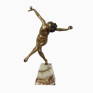 Art Deco Jongleur Bronze Skulptur von Claire-Jeanne Roberte Colinet, 1920er