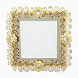 Illuminated Wall Mirror in Solid Brass and Crystal Glass, 1960s