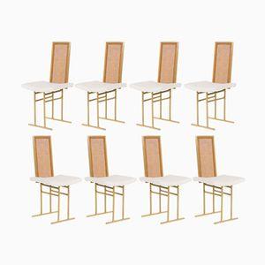 Vergoldete Metall Stühle mit Beigen Sitzen von Flox, 1970, 8er Set
