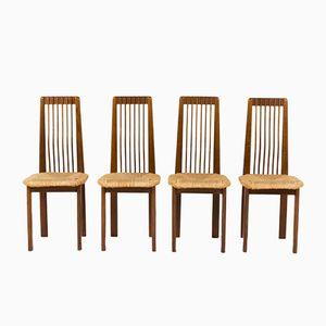 Italienische Esszimmerstühle aus Eichenholz & Stroh, 1950er, 4er Set