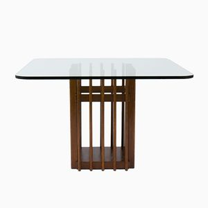 Italian Oak & Glass Dining Table, 1950