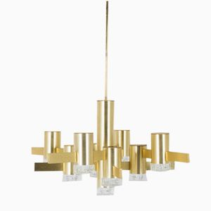 Brushed Gold Plated Pendant Light by Gaetano Sciolari, 1970