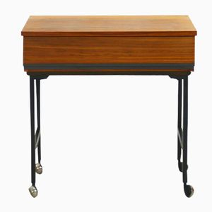 Mid-Century Modern Walnut Side Table with Casters