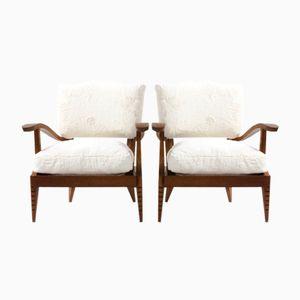 Sessel aus Eiche und Fleece, 1930er, 2er Set
