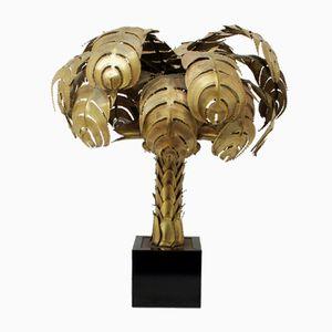 Goldene Palmen Tischlampe von Maison Jansen, 1960er