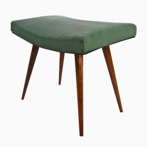 Italienischer Hocker aus Holz & Grünem Skai, 1950er