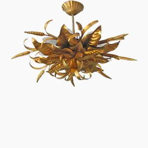 Gilded Florentine Eight-Light Ceiling Lamp by Hans Kögl, 1970s