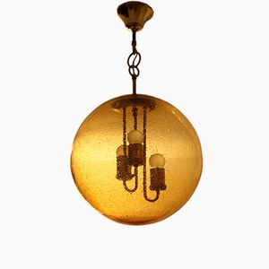 Brass and Glass Globe Lamp from Limburg Glashutte, 1960s
