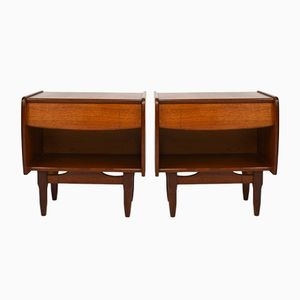 Mid-Century Teak Night Stands, Set of 2