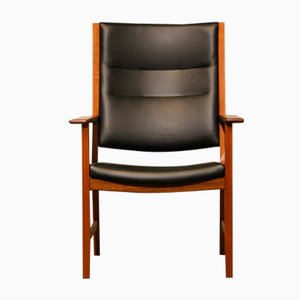 Mid-Century Mahogany & Black Leather Armchair by Hans J. Wegner for Johannes Hansen