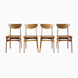 Vintage Faux Leather Dining Chairs, Set of 4