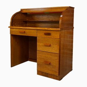 Vintage Wooden Secretaire with Tambour Top