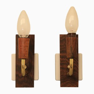 Mid-Century Rosewood Wall Lamps, Set of 2