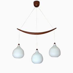 Teak & Opal Glass Chandelier by Uno & Osten Kristiansson for Luxus, 1956