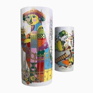 Vintage Commedia Dell'Arte Vasen von Björn Wiinblad für Rosenthal, 2er Set