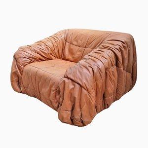 Piumino Cognac Leather Armchair Sofa by De Pas, D' Urbino & Lomazzi for Dall'Oca, 1970s