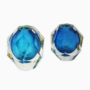 Vintage Blue Murano Facet Diamond Vases, Set of 2