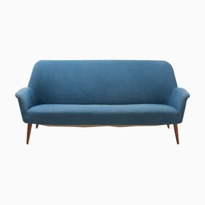 Mid-Century 2-Seater Sofa with Blue Fabric and Teak Legs