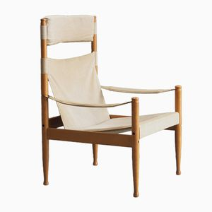 Mid-Century Beech & Canvas Safari Chair by Erik Wørts for Niels Eilersen