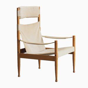 Mid-Century Buchenholz & Leinen Safari Stuhl von Erik Wørts für Niels Eilersen