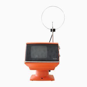 Orangenfarbener Vintage 5P-12G Fernseher von Sharp, 1970er