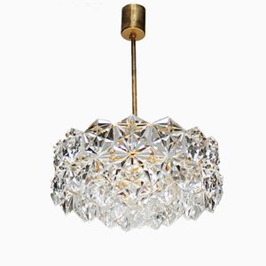 Gold-Plated Chandelier with Hexagonal Crystals from Kinkeldey