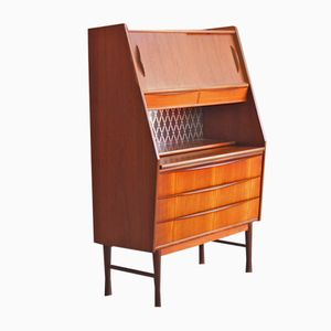 Vintage Danish Secretaire with Pull out Desk and Mirror