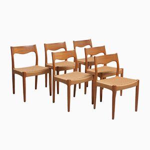 Esszimmerstühle aus Teak mit Geflochtenen Sitzen, 1950er, 6er Set