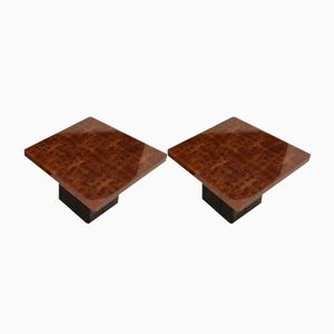 Burl Walnut Coffee Tables by Willy Rizzo, 1970s, Set of 2