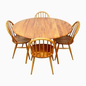 Mid-Century Ulmenholz Esstisch mit Stühlen von Ercol