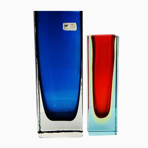 Vases Vintage en Verre Rouge & Bleu, Set de 2
