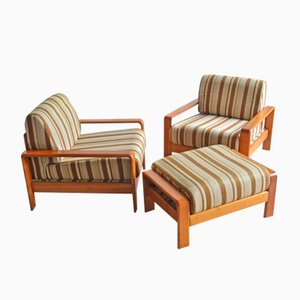 Danish Teak Armchairs with Footrest, 1970s