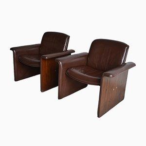 Gebogene Italienische Sessel aus Palisander & Leder, 1970er, 2er Set