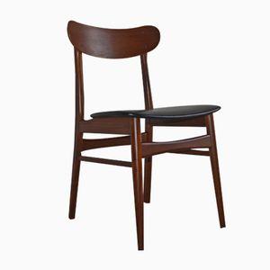 Dänischer Teak Stuhl mit Gebogener Rückenlehne, 1960er