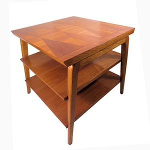 Mid-Century Three-Tier Walnut Side Table with Inlay from Lane Furniture