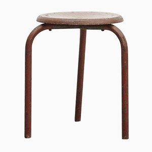 Vintage French Wooden Stool, 1950s