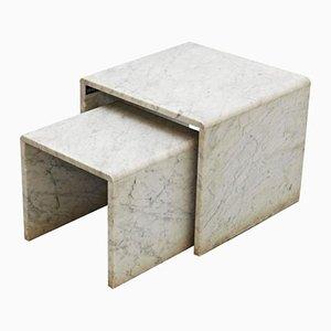 Tavoli a incastro vintage in marmo, anni '60