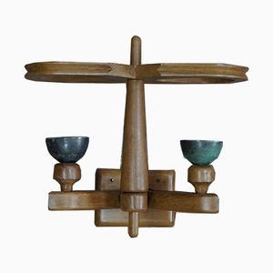 Vintage Double Light Wall Sconce by Guillerme et Chambron