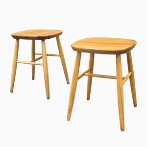 Vintage Light Beech Stools, Set of 2
