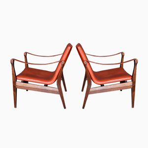 Safari Easy Chairs by Karen & Ebbe Clemmensen for Fritz Hansen, 1958, Set of 2