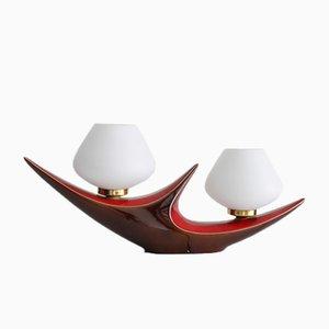 Vintage French Ceramic Double Table Lamp from Verceram