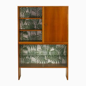 Mid-Century Walnut Highboard with Wall Paper