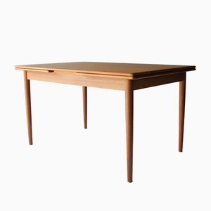 Vintage Danish Teak Dining Room Table with Two Leaves