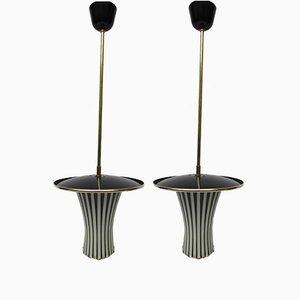 Schwarz & Weiße Italienische Hängelampen, 1950er, 2er Set