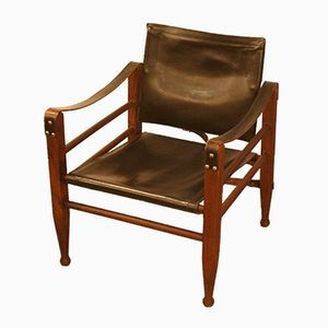 Vintage 2221 Safari Chair in Teak and Black Leather by Børge Mogensen